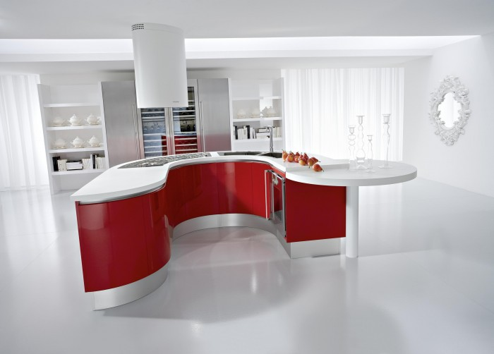natural-contemporary-white-kitchen-with-red-island 45 Elegant Cabinets For Remodeling Your Kitchen