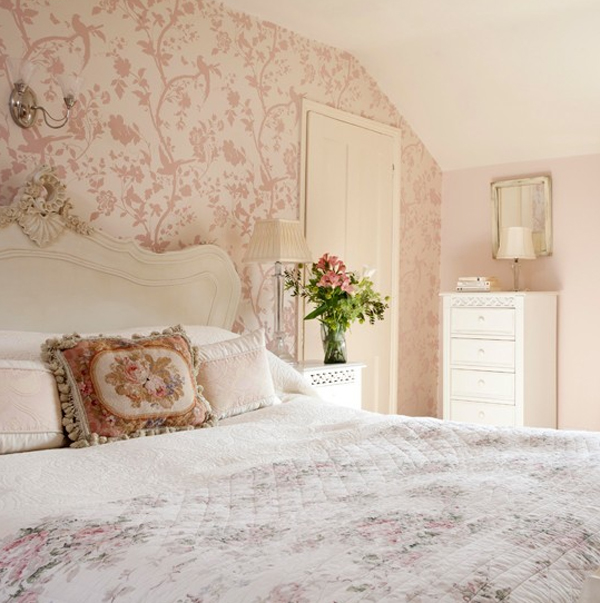 pink-bedroom-with-floral-theme Tips On Choosing Wallpaper For Your Bedroom