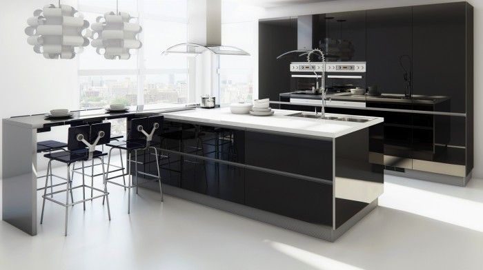 superb-modern-kitchen-with-extended-bar 45 Elegant Cabinets For Remodeling Your Kitchen