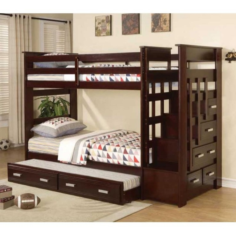 trundle-bunk-bedacme-allentown-espresso-twin-bunk-bed-with-storage-stairway-hr3t0grv Make Your Children's Bedroom Larger Using Bunk Beds