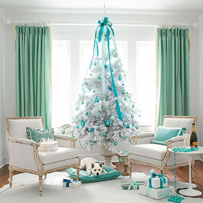 white-christmas-tree-colorful-theme-ideas-decoration-teal-blue-stylish-very-unique-combination-for-holiday-decor-idea Tips With Ideas Of Decorations For Christmas Celebrations