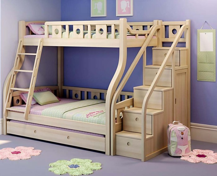 wooden-bunk-beds-with-stairs Make Your Children's Bedroom Larger Using Bunk Beds