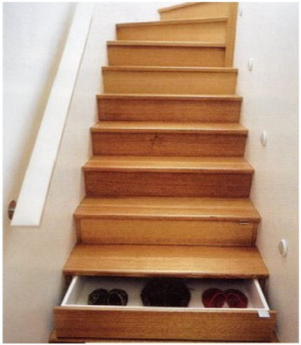 wooden-stair-design-with-store-shoes Turn Your Old Staircase into a Decorative Piece