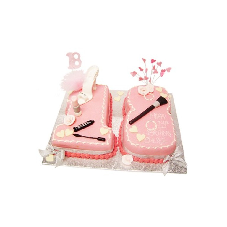 18th-birthday-shoe-and-make-up-cake 60 Mouth-Watering & Stunning Happy Birthday Cakes for You