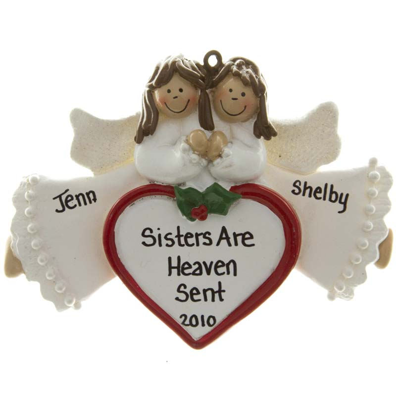 2-sisters-brunette-angels-heart-personalized-ornament-800x800 10 Fabulous & Gorgeous Sister Gift Ideas