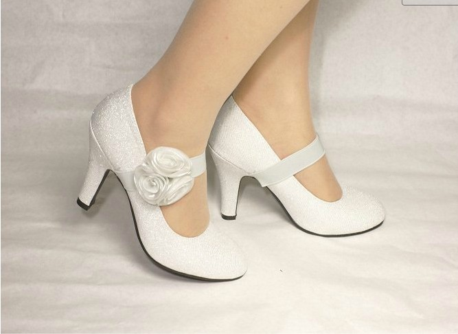 2012-New-Style-Silver-Bridal-Bridesmaid-Party-Middle-High-Heel-Soft-Leather-Pointed-closed-Toe-Wedding-Shoes A Breathtaking Collection of White Bridal Shoes for Your Wedding Day