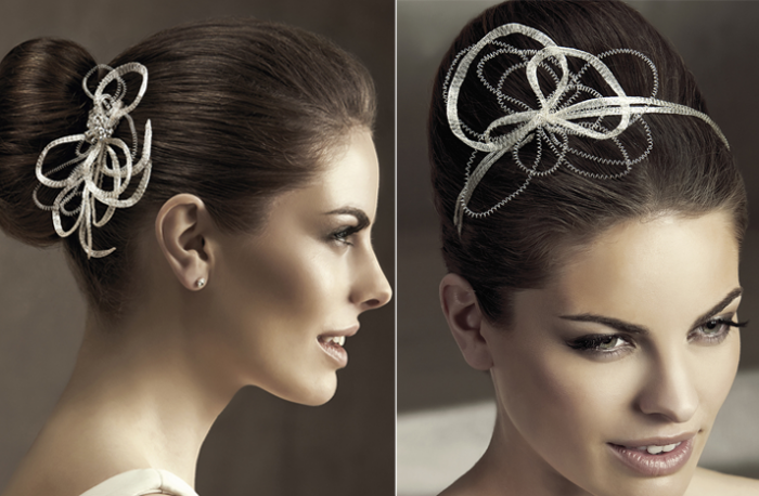 2012-wedding-hair-accessories-bridal-hairstyles-pronovias-modern-swirls 50 Dazzling & Fabulous Bridal Hairstyles for Your Wedding
