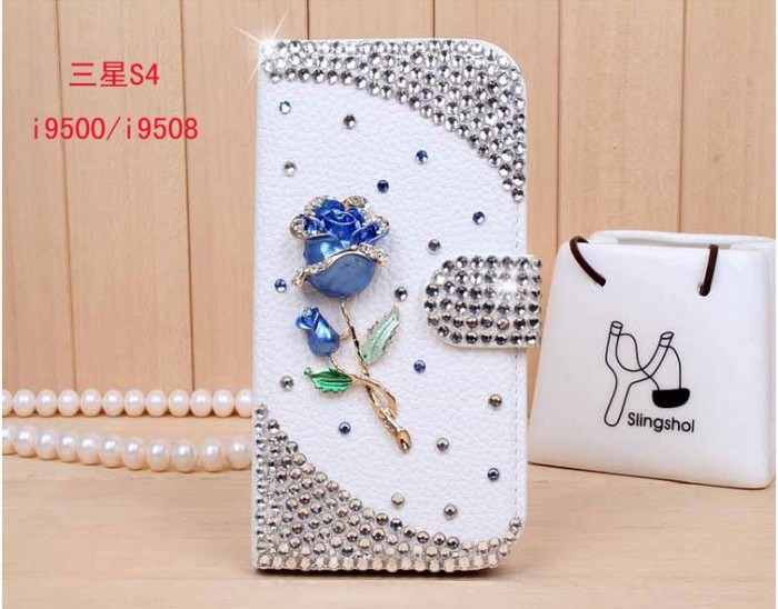 3D-Bling-Crystal-Rhinestone-Diamond-Flip-Case-for-Samsung-Galaxy-S4-IV-i9500-Leather-Wallet-mobile 50 Fascinating & Luxury Diamond Mobile Covers for Your Mobile