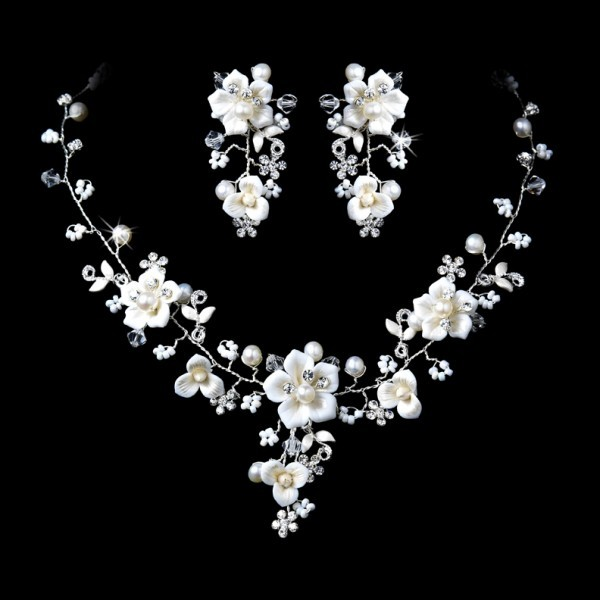 Beautiful-Silver-Crystal-Porcelain-Pearl-Bridal-Jewelry-Set 48+ Best Christmas Gift Ideas for Your Wife