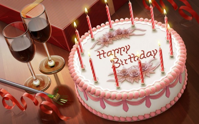 Birthday-Cake-with-Drink-Cool-Image 60 Mouth-Watering & Stunning Happy Birthday Cakes for You