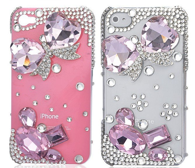 Butterfly-diamond-mobile-phone-luxury-cover-for-iphone4-accessories-for-iphone4g-case-for-iphone4s 50 Fascinating & Luxury Diamond Mobile Covers for Your Mobile