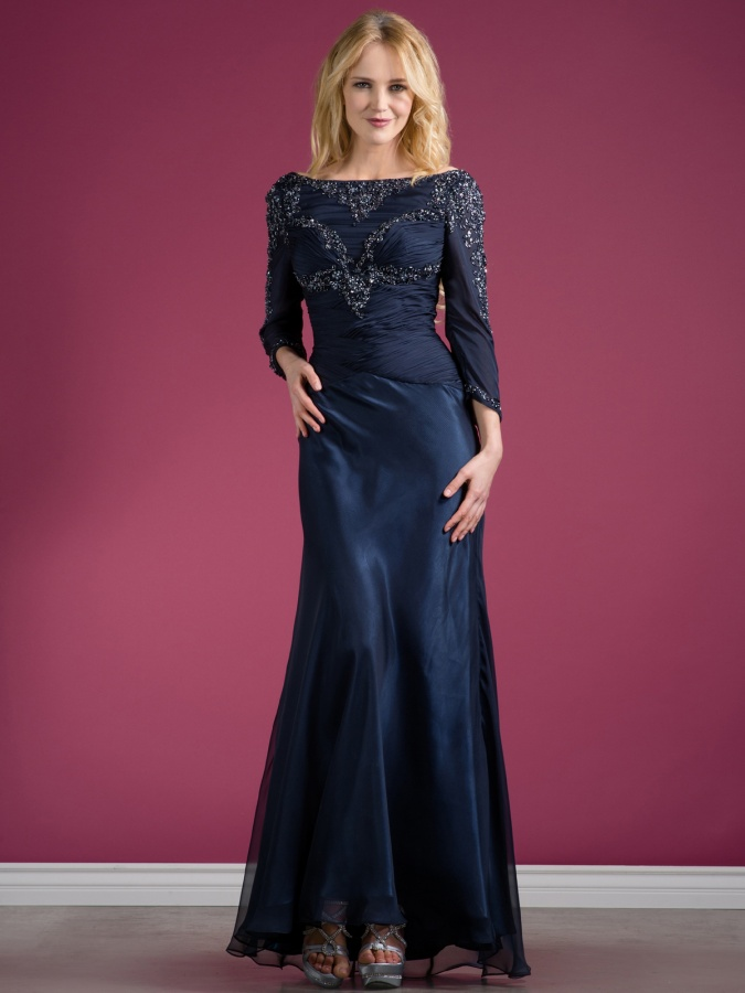 C7995_Navy_Beaded_Long_Sleeve_Evening_Dress_l 2017 Christmas Gift Ideas for Your Wife