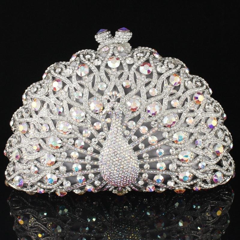 Fashion-Crystals-font-b-Clear-b-font-Animal-Peacock-Clutch-Evening-font-b-Purse-b-font 50 Fabulous & Elegant Evening Handbags and Purses