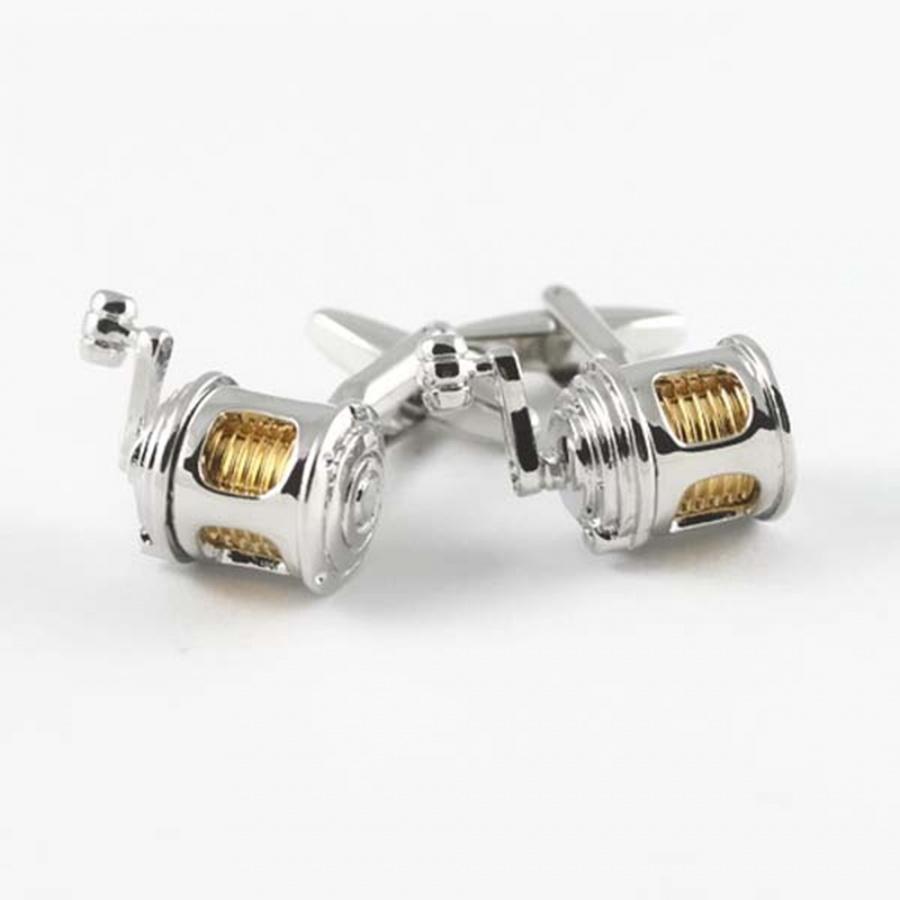 Fishing-Reel-Silver-Plated-Cufflinks 15 Fascinating & Unusual Christmas Presents