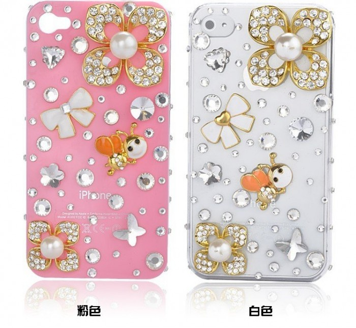 Flower-diamond-mobile-phone-luxury-cover-for-iphone4-accessories-for-iphone4g-case-for-iphone4s-case-free 50 Fascinating & Luxury Diamond Mobile Covers for Your Mobile