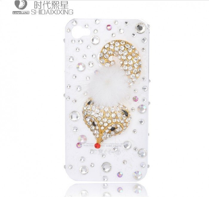 Fox-diamond-mobile-phone-luxury-cover-for-iphone4-accessories-for-iphone4g-case-for-iphone4s-case-free 50 Fascinating & Luxury Diamond Mobile Covers for Your Mobile