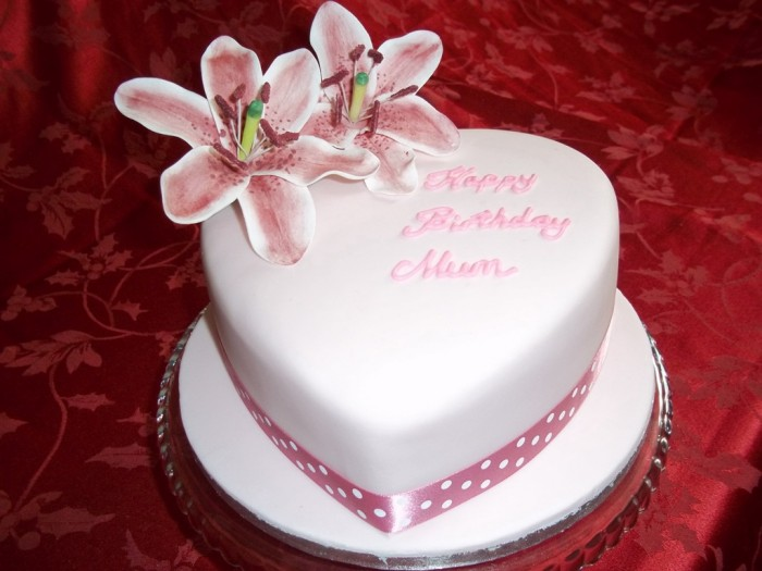 Heart-shaped-Lily-Birthday-Cake 60 Mouth-Watering & Stunning Happy Birthday Cakes for You