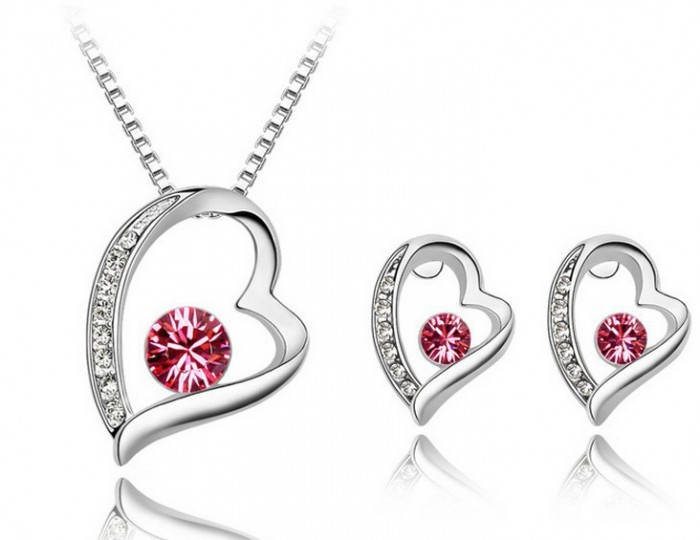 Korean-Style-Heart-Shaped-Crystal-Jewelry-Set-Costume-Necklace-Earring-font-b-Jewellery-b-font-Set 48+ Best Christmas Gift Ideas for Your Wife
