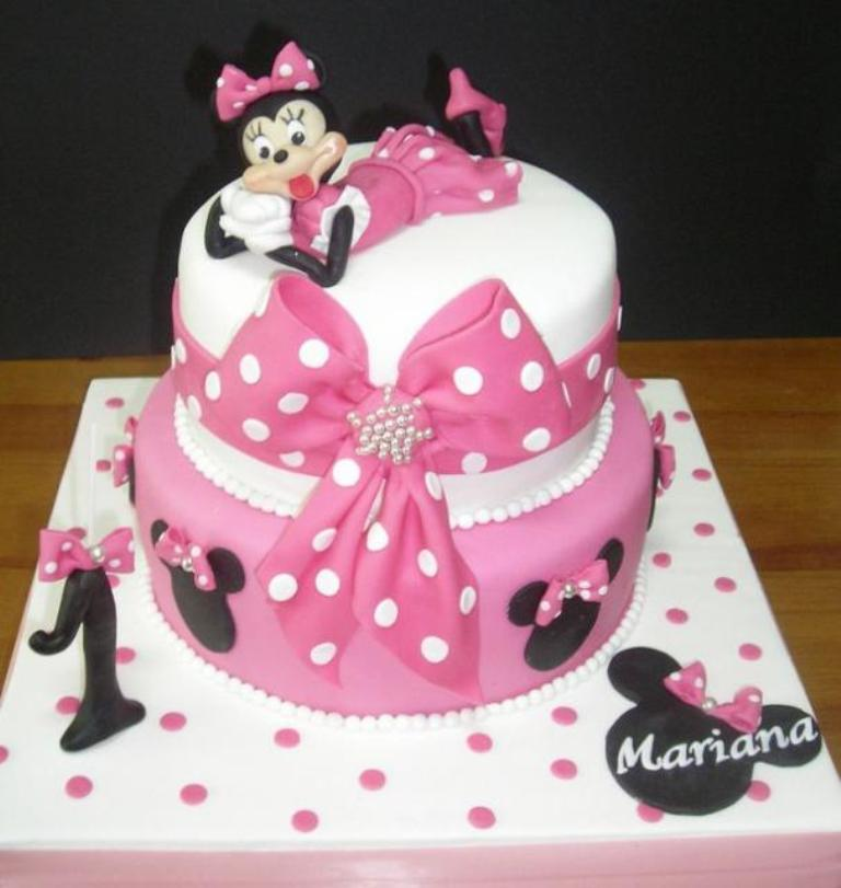 Minnie-Mouse-2-tier-pink-first-birthday-cake 60 Mouth-Watering & Stunning Happy Birthday Cakes for You