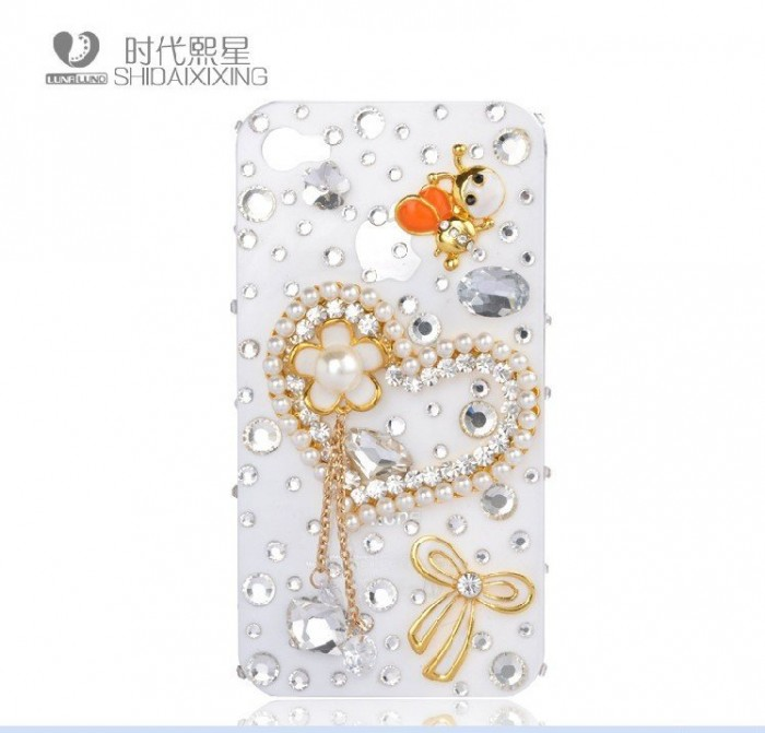 Peach-Hearts-diamond-mobile-phone-luxury-cover-for-iphone4-accessories-for-iphone4g-case-for-iphone4s-case 50 Fascinating & Luxury Diamond Mobile Covers for Your Mobile
