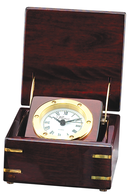 Rosewood_Deluxe_Captain_Clock_with_Brass_Accents 10 Retirement Gift Ideas for Women