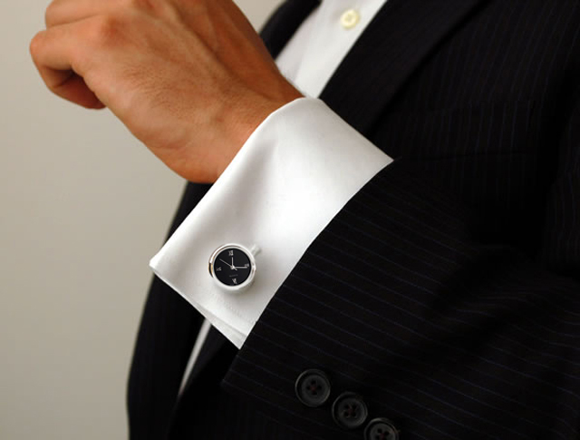 The-Watch-Cufflinks-black-dial-silver-finish-Rhodium-plated-base-metal-with-bullet-back-closure The Best 10 Christmas Gift Ideas for Your Daddy