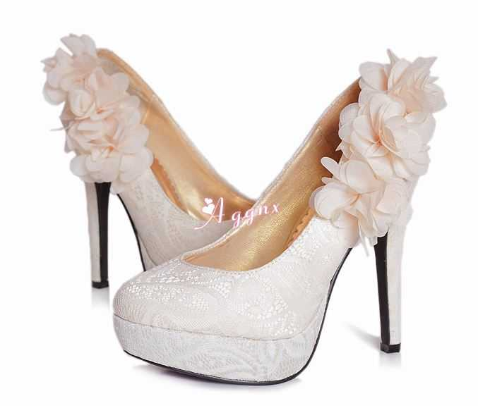 White-Bridal-Shoes-With-Lace-Upper-Chiffon-Flower-Stiletto-Heel-Platform-Pumps A Breathtaking Collection of White Bridal Shoes for Your Wedding Day