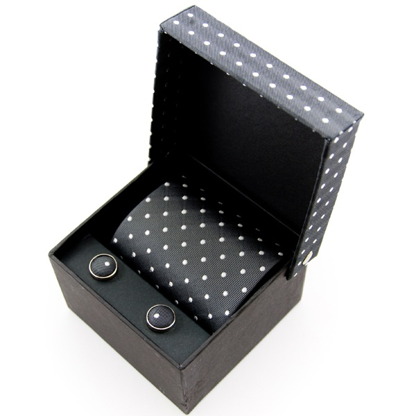 grey-white-polka-dot-silk-tie-cufflinks-gift-box-set-p1850-2282_zoom 10 Amazing Xmas Gifts for Your Husband