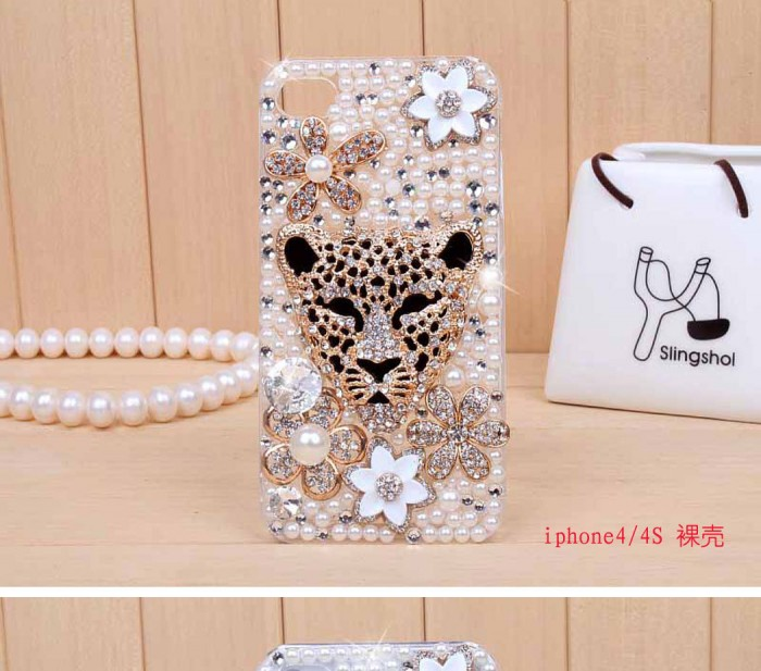 iphone4s-5-leopard-head-diamond-mobile-phone-shell-mobile-phone-shell-cell-phone-protective-cover-an-apple 50 Fascinating & Luxury Diamond Mobile Covers for Your Mobile