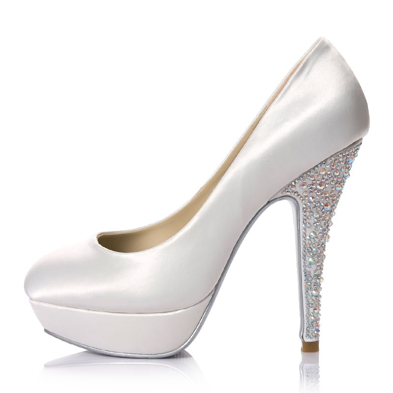 super-high-heels-platform-white-satin-jeweled-bridal-shoes A Breathtaking Collection of White Bridal Shoes for Your Wedding Day