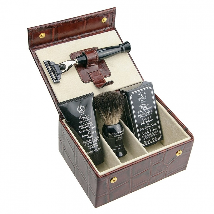 taylor-of-old-bond-street-gillette-mach3-mock-croc-shaving-set-brown-1 10 Amazing Xmas Gifts for Your Husband