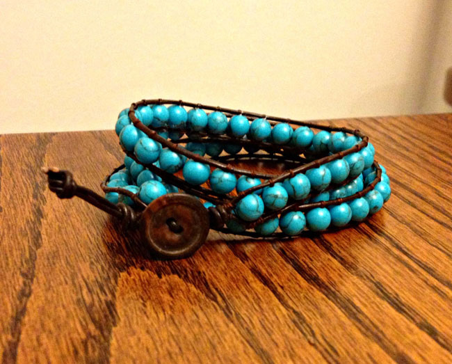 turquoise-largebead-bracelet 10 Fabulous Homemade Gifts for Your Mom