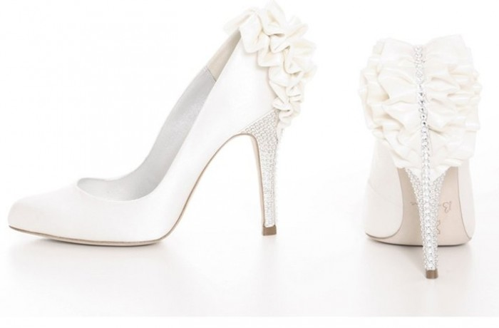 white-satin-wedding-shoes-rhinestone-heel-bow-detail.full_ A Breathtaking Collection of White Bridal Shoes for Your Wedding Day