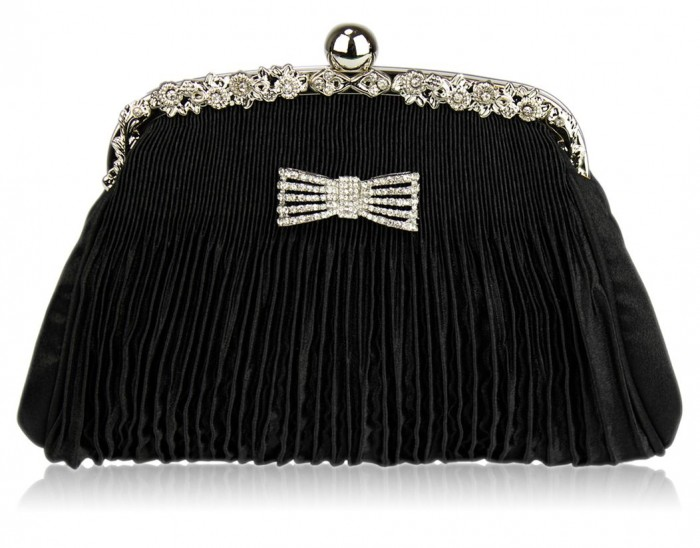 womens-black-crystal-bow-satin-ruched-evening-clutch-purse-21308-p 48+ Best Christmas Gift Ideas for Your Wife