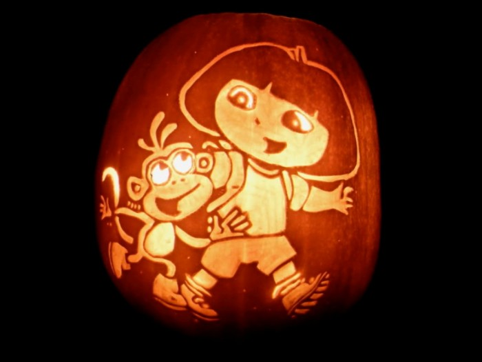Accessories-Dora-Pumpkin-Carving-Patterns-25-Pumpkin-Carving-Patterns-Character-Ideas Top 60 Creative Pumpkin Carving Ideas for a Happy Halloween