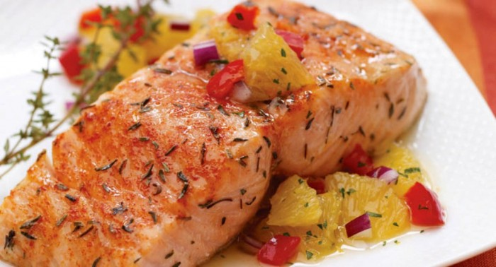 Citrus-Salmon-with-Orange-Relish 10 Types of Food to Provide You with Longevity & Good Health