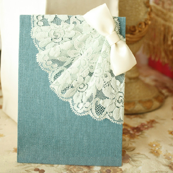 Denim-Blue-luxury-royal-weddding-invitations-decorated-with-lace-for-2014-trends 47+ Creative Wedding Ideas to Look Gorgeous & Catchy on Your Wedding