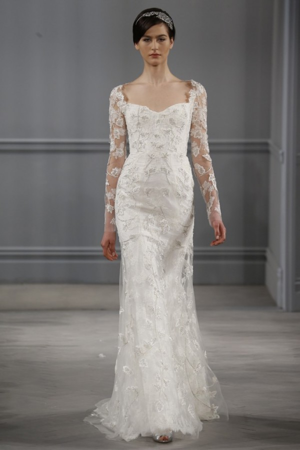 Monique-Lhuillier-Spring-2014-Lace-Sheath-Bridal-Gown-600x899 47+ Creative Wedding Ideas to Look Gorgeous & Catchy on Your Wedding