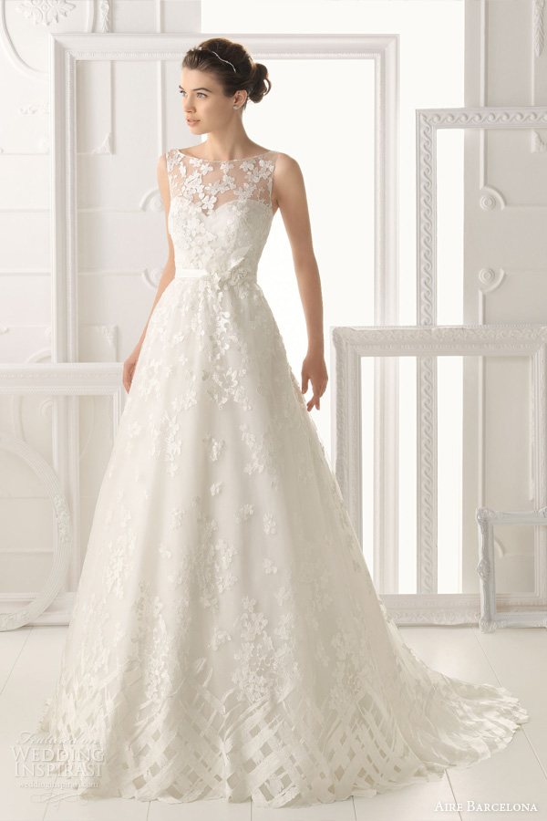 aire-barcelona-2014-bridal-oest-sleeveless-wedding-dress-illusion-neckline 47+ Creative Wedding Ideas to Look Gorgeous & Catchy on Your Wedding