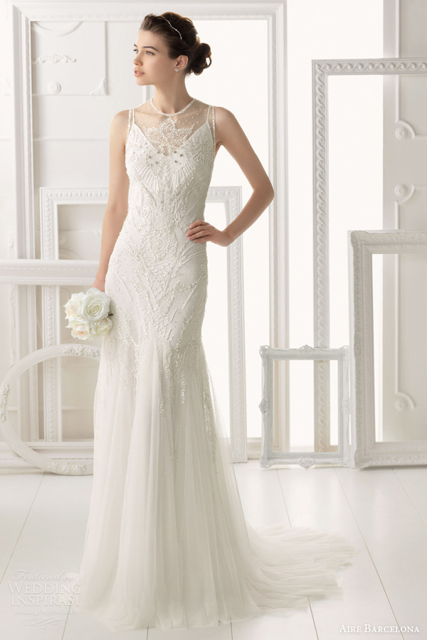 aire-barcelona-2014-bridal-omeya-sleeveless-beaded-wedding-dress 47+ Creative Wedding Ideas to Look Gorgeous & Catchy on Your Wedding