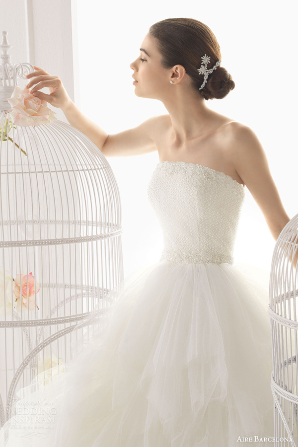 aire-barcelona-2014-ordesa-strapless-ball-gown-tiered-skirt-beaded-bodice-close-up 47+ Creative Wedding Ideas to Look Gorgeous & Catchy on Your Wedding