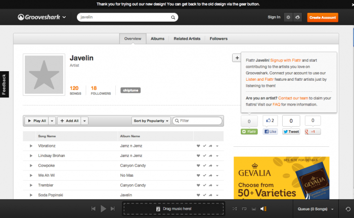 grooveshark_javelin Enjoy Listening to Millions of Free Online Songs with Grooveshark