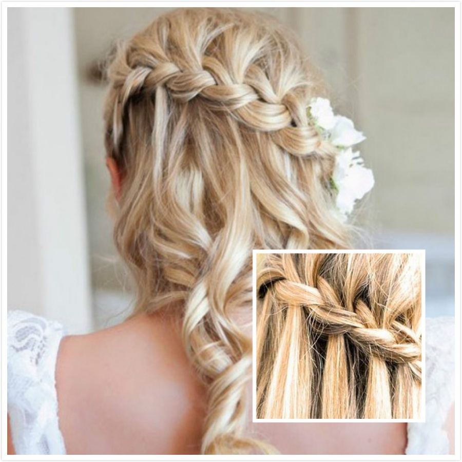 the-waterfall-braid-wedding-hairstyle 47+ Creative Wedding Ideas to Look Gorgeous & Catchy on Your Wedding