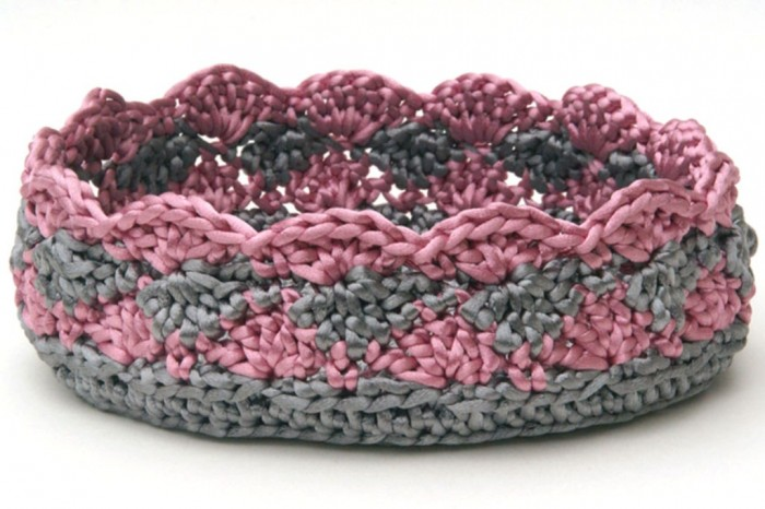 17-Silver-Pink-Crochet-Basket-Bowl01 Stunning Crochet Patterns To Decorate Your Home & Make Accessories