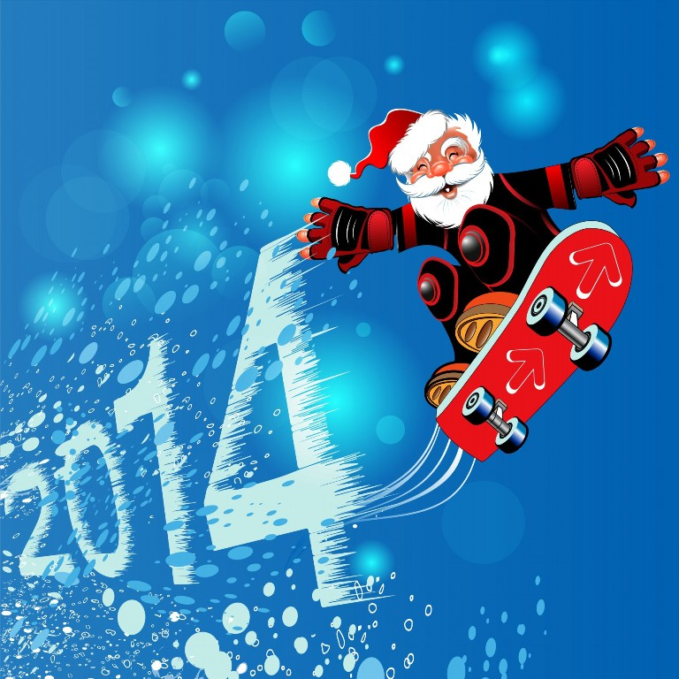 2014-Santa-Claus-Playing-The-Skateboard-Wallpapers What Did Santa Claus Bring For You On Christmas Eve?