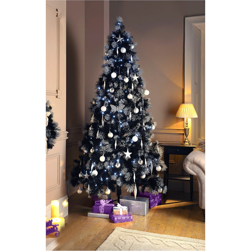 270455-7ft-Black-Christmas-Tree-with-Glitter-Tips 79 Amazing Christmas Tree Decorations