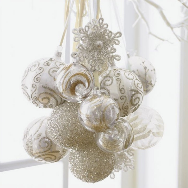 720christmas-decoration-in-white-cluster-of-ornaments-white-ribbons 79 Amazing Christmas Tree Decorations