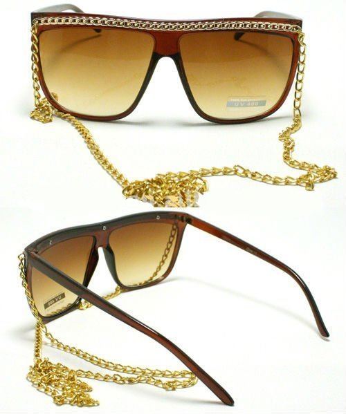 CELEBRITY_Pop_Star_Gold_CHAIN_Sunglasses_Lady_80_s_Retro_Flat_Top 39 Most Stylish Gold and Diamond Sunglasses in 2021