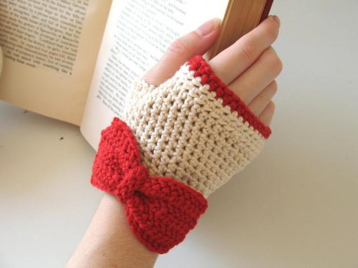 Crochet-Fingerless-Gloves-Ivory-Red-color 10 Fascinating Ideas to Create Crochet Patterns on Your Own