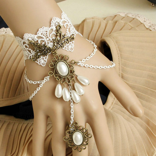 Free-Shipping-fashion-gothic-real-pearl-lace-bracelets-and-ring-set-evening-party-jewelry-hot-sellling 65 Hottest Hand Back Jewelry Pieces for 2020